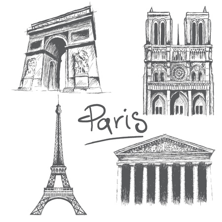 triumphal: Parisian architecture.Notre Dame, Madeleine church, Triumphal Arch and Eiffel tower.Hand drawn style