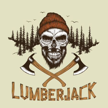Skull-lumberjack with beard,hat and two axes at the forest background.Prints design for t-shirts.text made of planks.Vector illustration Illustration