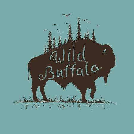 búfalo salvaje con el bosque en la ilustración vectorial him.Abstract