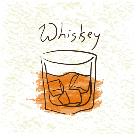 tipple: Glass of whiskey with ice pictured by watercolor on paper background. Hand drawn vector illustration