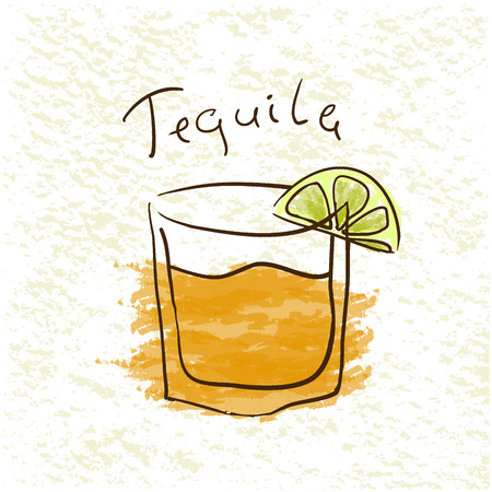 tipple: Glass of tequila with lime pictured by watercolor on paper background. Hand drawn vector illustration