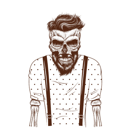 slayer: fashion zombie dressed in t-shirt.Hipster style.Vector illustration