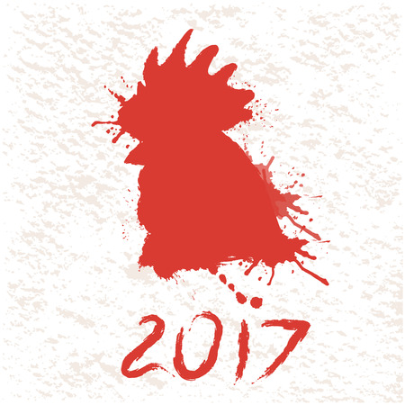 silhouette of rooster head pictured by paints.Illustration for New Year 2017