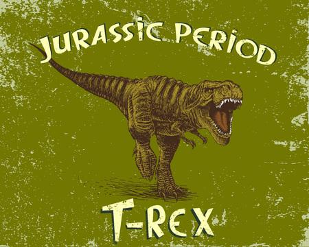 Angry tyrannosaur rex.Grunge style. Jurassic period.Vector illustration Illustration