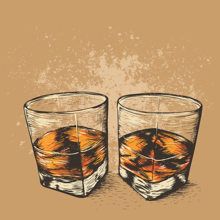Whiskey in two glasses.Hand drawn style. Alcoholic drinks design.Vector illustration
