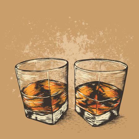 Whisky in due bicchieri. Stile disegnato. Bevande alcoliche design.Vector illustrazione