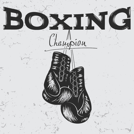 Old étiquette avec des gants de boxe .Grunge effect.Prints design pour t-shirts Vecteurs