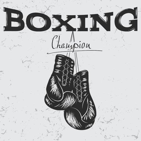 Vieja etiqueta con los guantes de boxeo. Efecto de la cremallera.Prints diseño para las camisetas Ilustración de vector