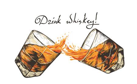 dwie szklanki z whiskey.Hand narysowany styl. projekt alkoholu drinks.Vector ilustracji Ilustracje wektorowe