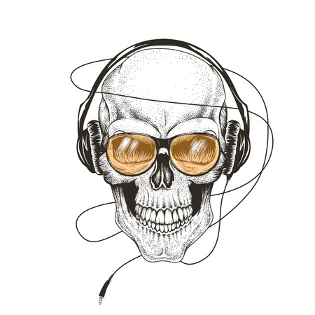 abstract music: skull listening a music in headphones.Prints design for t-shirts.Vector illustration