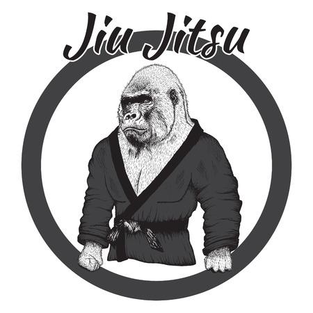 jiu jitsu: Wrestler gorilla dressed in kimono.Hand drawn style.Label for Jiu Jitsu