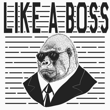 Gorilla dressed in jacket and black sunglasses .Like a boss.Vector illustration Vektoros illusztráció