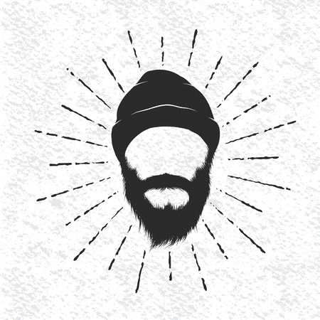 woodsman: Face of lumberjack .Prints design for t-shirts.Hand drawn vector illustration