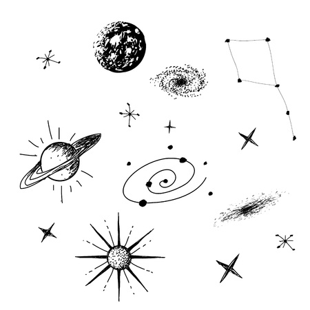 Vector illustration of universe with galaxy,planets,stars,constellation on white background. Hand drawn style .Set of galactic objects