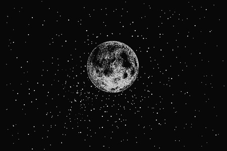 nightime: Full moon in outer space on stars backgraund.Dotwork.Vector illustration
