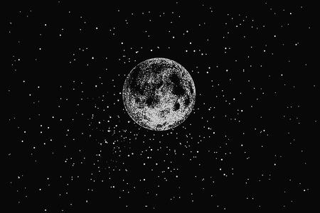 Luna piena nello spazio sulle stelle backgraund.Dotwork.Vector illustrazione