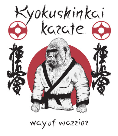 Kyokushinkai karate theme.Gorilla dressed in kimono. Japan martial art.Vector poster Çizim