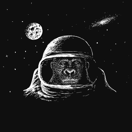 monkey suit: monkey astronaut in outer space.Travel in cosmos.Vector illustration Illustration