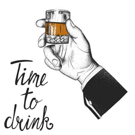 Male hand holding a glass of whiskey. Time to drink. Vector illustration