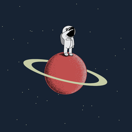 cool guy: Cartoon spaceman standing on the red planet.Childish vector illustration