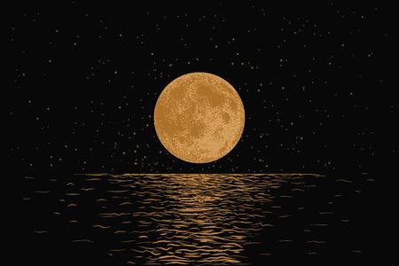 Luna arancia che riflette in un mare. Lavoro a mano stile disegnato. Illustrazione di vettore