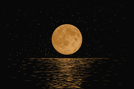 Orange moon reflecting in a sea.Dotwork.Hand drawn style.Vector illustration