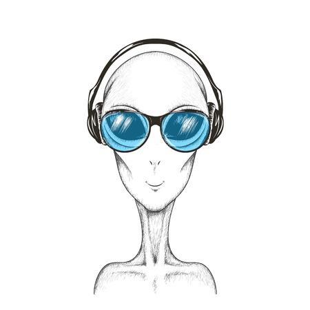 Alien listening a music.Hand drawn vector illustration