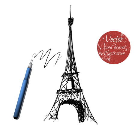 romantic getaway: eiffel tower isolated on white background.Hand drawn style.Stock vector Illustration