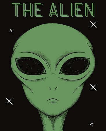 civilization: Face of green alien isolated on black background.Vector illustration Illustration