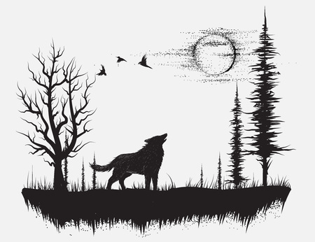 Wolf howling at the moon in the forest.Hand drawn vector illustration