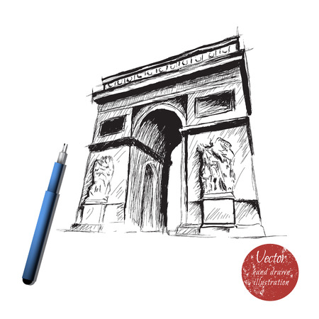 triumphal arch: triumphal arch isolated on white background.Hand drawn style.Made by ink.Stock vector
