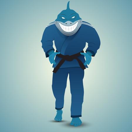 grappling: judoka shark attack. Cartoon style. Vector illustration Illustration