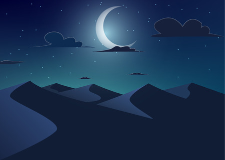 Desert landscape. Dunes with crescent moon .Vector cartoon illustration