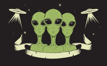astronomic: humanoids concept vector illustration.Aliens watching for us. Illustration