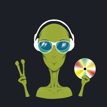 humanoid: Alien music fun hand drawn vector illustration. Humanoid in headphone and sunglasses hold cd in hand