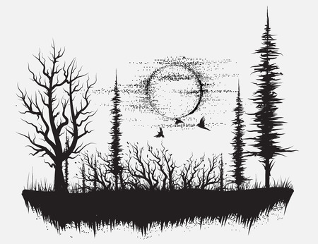 Strange forest.Silhouette of trees.Hand drawn vector illustration
