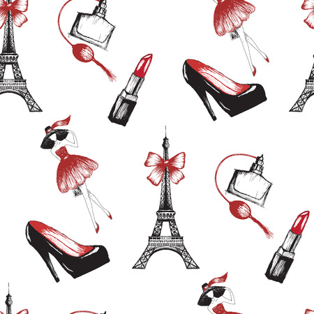 French style seamless pattern vector illustration with Paris symbols.