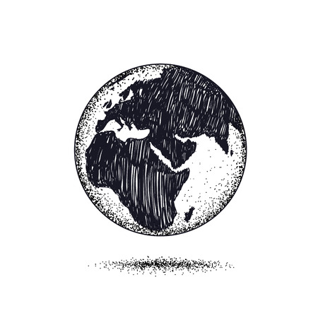 Symbol of Earth isolated on white background.Dotwork.Vector illustration Stock Photo