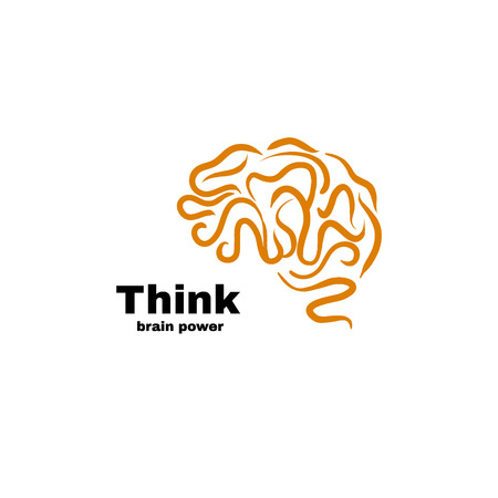 Brain power logo vector illustration. Think idea and brainstorm concept.