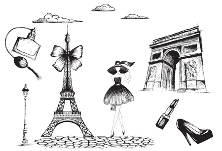 Collection of fashion objects and Paris architecture.Hand drawn style.Vintage vector illustration