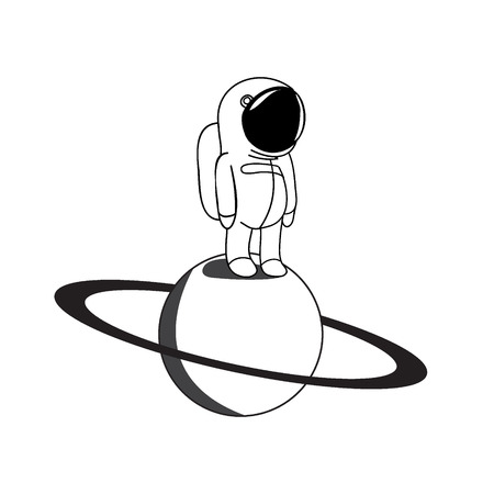 Funny astronaut in outer space vector illustration. Spaceman on Saturn explore universe.