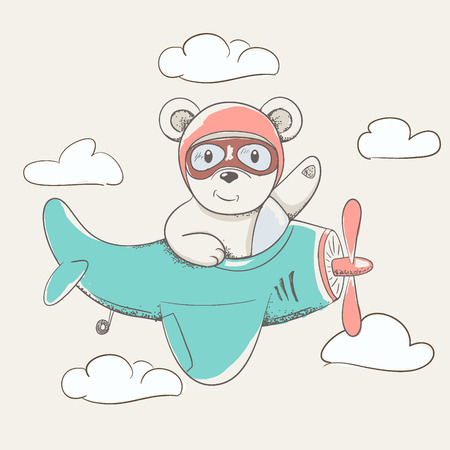 child bear flying in the sky on plane hand drawn vector illustration.Childish cartoon design for kid t-shirts,dress or greeting cards. Ilustração