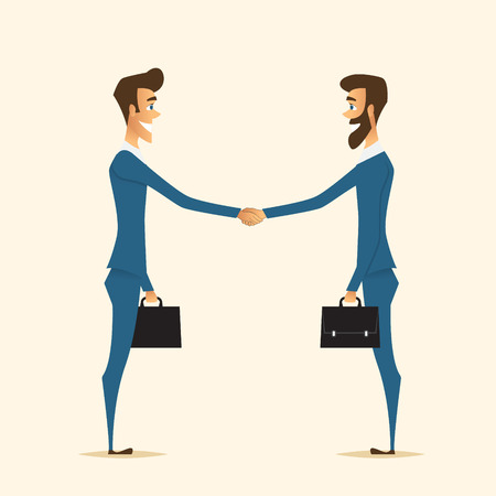 handshake of two partners who made good deal.Business theme.Cartoon vector characters Illustration