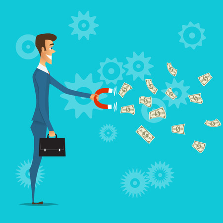 businessman attracts money with a magnet.People vector illustration.Start up business idea concept