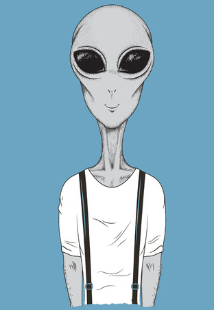 astronomic: Martian dressed in t-shirt like a human.Cartoon vector illustration. Illustration