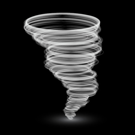 extreme science: abstract white tornado isolated on black background.Vector illustration