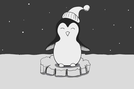 antarctica: adventure of cute penguin in antarctica .Cartoon childish vector illustration.