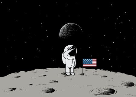 outerspace: Cute little astronaut stand on the moon with USA flag.Space mission.Childish vector illustration