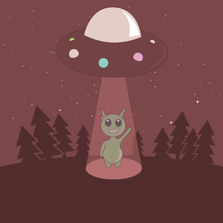 humanoid: Cute humanoid touchdown to Earth from UFO in the forest.Cartoon childish vector illustration.