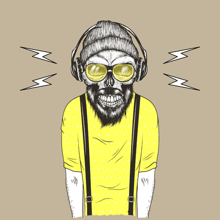 Hipster with head skull listen to music in headphones.Dressed in t-shirt and hat.Cartoon vector illustration